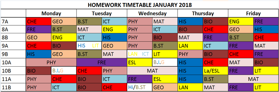 HOMEWORK TIMETABLE JANUARY 2018